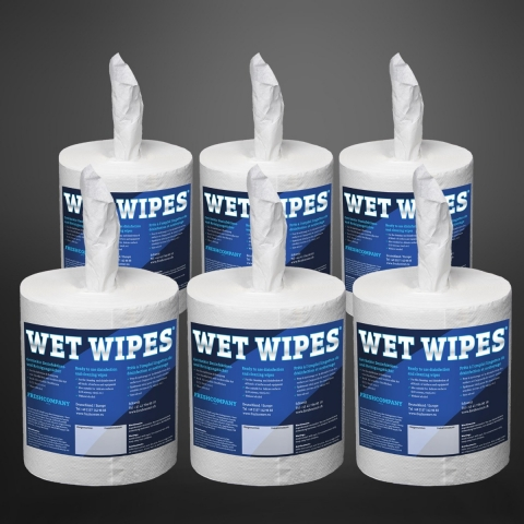 Wet Wipes 750 Desinfektionstücher alkoholfreie, fertig getränkte Flächendesinfektionstücher 6 Rollen à 750 Blatt (4'500 Tücher)