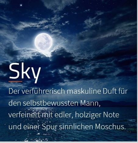 Sky **** Aromaöl Raumparfüm  Der männliche Duft für den selbstbewussten Herrn, eine holzige Note mit sensiblem Moschus unterlegt  VE: 200ml