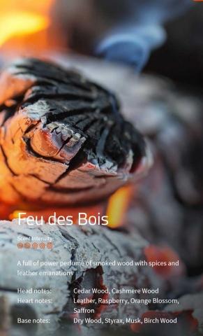 Feu des Bois *****  Ein sehr kraftvolles Parfüm mit rauchig-scharfen Holz- und Ledernoten   VE: 200ml