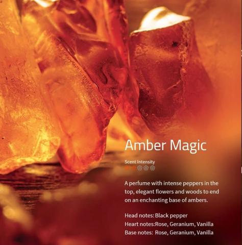 Amber Magic Aromaöl 200ml Ein Parfüm mit intensiver Pfeffernote, elegantem Blumenduft und holzigem Unterton.