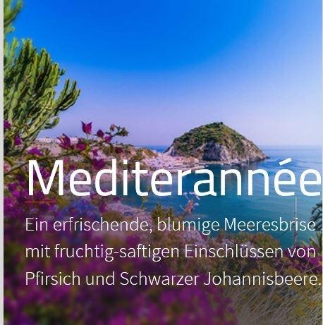 Mediterranée 200 ml Aromaöl Eine frische Blumenbrise mit fruchtig-saftigen Einschüben des Pfirsichs und der Johannisbeere.