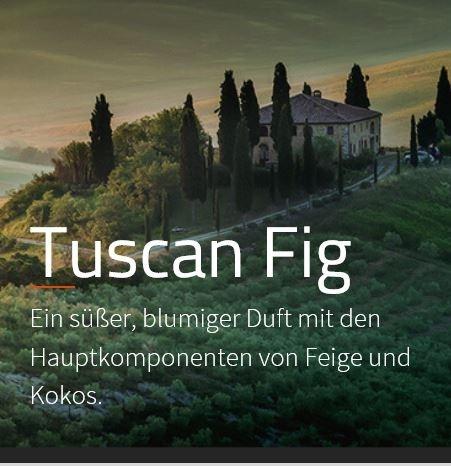 Tuscan Fig Aromaöl 200ml  Ein süßer, blumiger Duft mit Feige und Kokos, unterlegt von frischen, grünen Akkorden