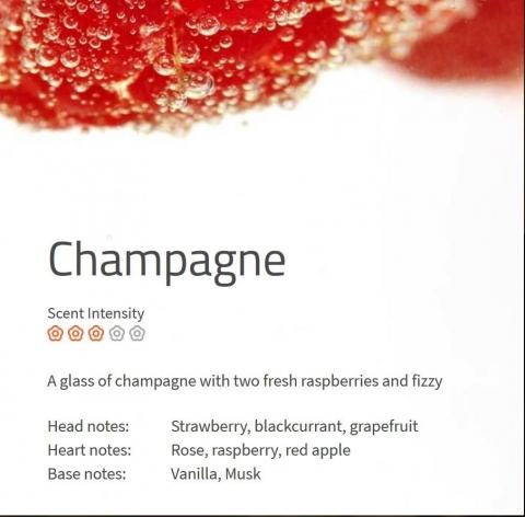 Champagne Der verlockende Duft eines Champagnerkelchs mit zwei frischen Himbeeren.