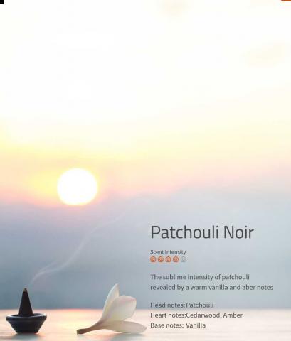 Patchouli Noir ****  Die Intensität von Patschuli wird durch eine warme Vanillenote eröffnet.