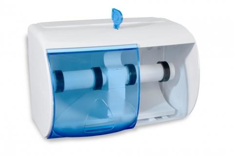 Toilettenpapier-Spender für 2 Rollen, weiß-transparent
