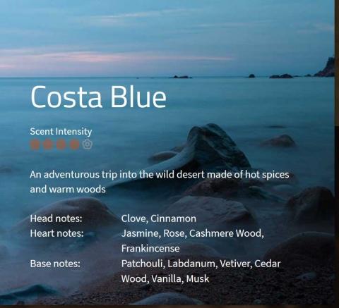 Costa Blue **** Eine Abenteuerreise in die unberührte Wüste – der Kampf zwischen scharfen gegen warme, holzige Noten  VE: 200ml