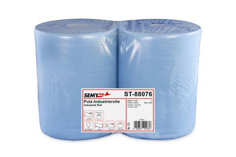 SemyTop Industriepapierrolle, 2-lagig, 100% Zellstoff, blau 2  x 1'000 Blatt