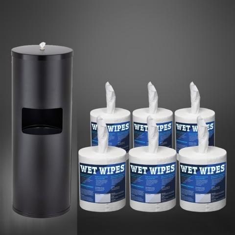 Wet Wipe 1 x Standspender Edelstahl schwarz + Wet Wipes 6 x 620 Desinfektionstücher fertig getränkt