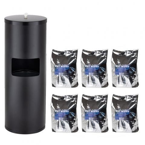 Wet Wipe Starterset: 1 x Standspender Edelstahl schwarz + Wet Wipes 6 x 620 Desinfektionstücher