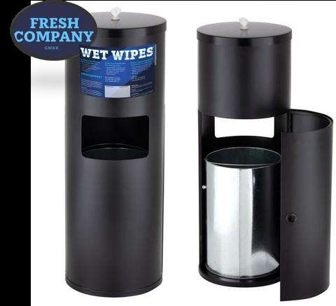 New WET WIPE Edelstahl Dosierspender All-in-One Black-Black