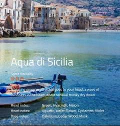 Aqua di Sicilia Ein frischer, grüner Duft, der direkt in den Kopf steigt, unterlegt mit einer frischen Herznote.