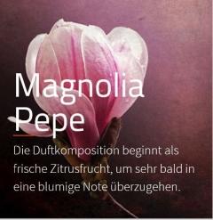 Magnolia Pepe Aromaöl 200ml Diese Komposition eröffnet mit frischer Zitrusnote der Bergamotte und kündigt ein blumiges Herz an.