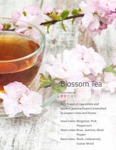 Blossom Tea - Eine Verschmelzung von Rosenblättern mit opulenten Jasminblüten, verstärkt durch Pfeffer und Thymian. **