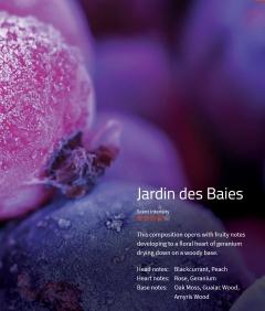 Jardin des Baies Aromaöl 200ml Diese Komposition eröffnet mit einer fruchtigen Note, welche in ein blumiges Herz mit Geranien übergeht.