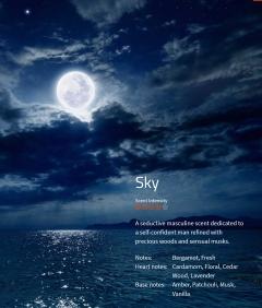 Sky  Der männliche Duft für den selbstbewussten Herrn, eine holzige Note mit sensiblem Moschus unterlegt.