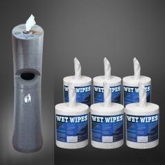 WET WIPE Dosierstandspender & 12 Rollen Wet Wipes (Set)