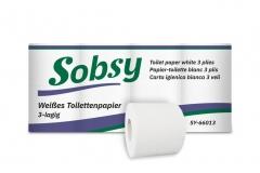 Toilettenpapier SOBSY  SY-660013 hochweiss 3-lg.  150 Blatt 2'112 Rollen