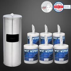 Wet Wipe 1 x Standspender Edelstahl + Wet Wipes 6 x 620 Desinfektionstücher fertig getränkt